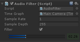 Script inspector view with additional widgets visible when implementing audio filter method.